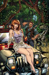 Jurassic World Pinup: Jeep in the Jungle by CdubbArt