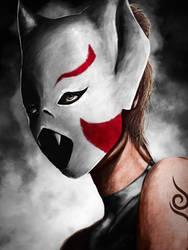 Shikako Anbu Bat mask by wasteawar