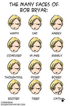 the many faces of bob bryar. by ryuuenx