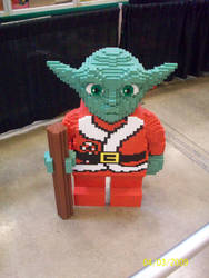 Lego Yoda in Christmas clothes by thejamz