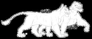 Lionesses Lineart [F2U] by Karibu99