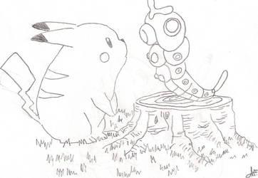 Pikachu y Caterpie by RoxasKD