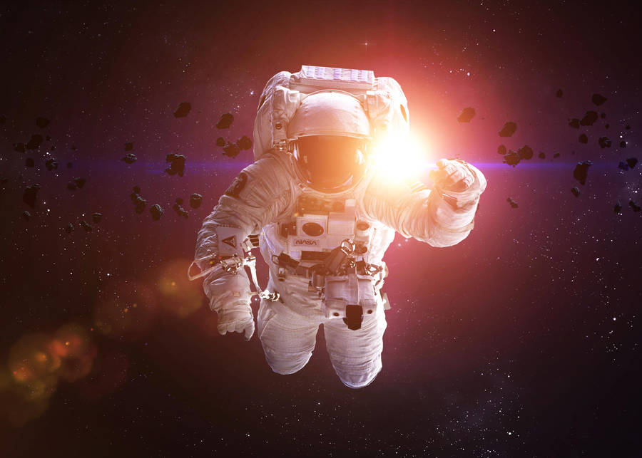 Cosmonaut in asteroid field by VadimSadovski