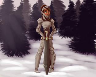 Female Knight in Snow by Gemzz101lol
