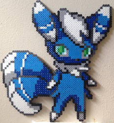 Male Meowstic perler by Birdseednerd