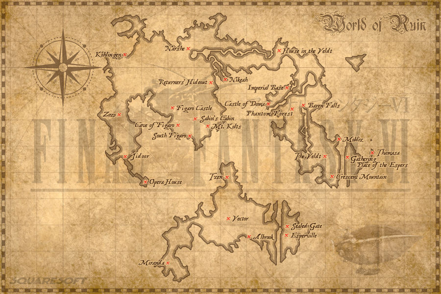World of Balance map (Final Fantasy VI) by Madsiur on DeviantArt
