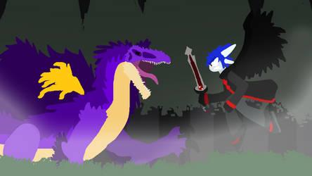 the Western Dragon vs the Atomic Dinosaur by Tyrannoraptorrex123