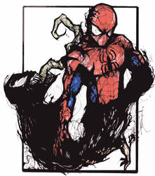 Spiderman Vs Venom cartoon by Demon1984