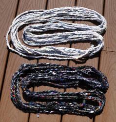 Dark and Light Fabric Yarn Skeins by flufdrax
