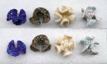 Fabric Yarn Recycled Hyperbolic Crochet Corals by flufdrax