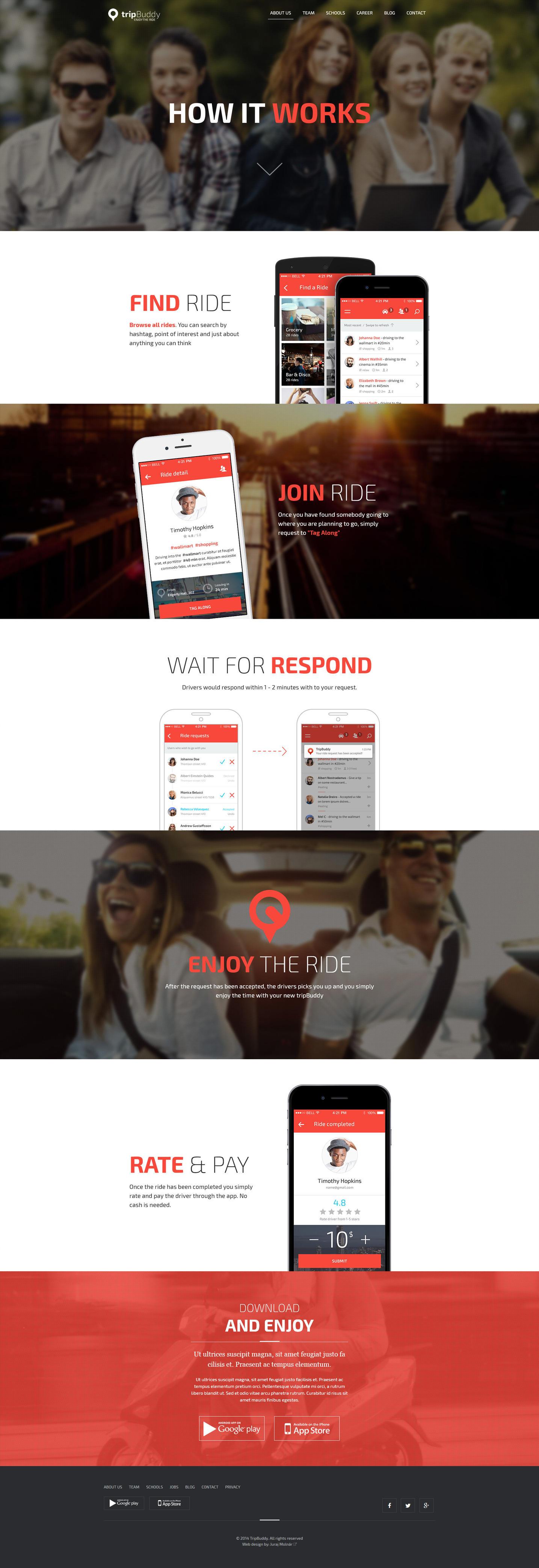Trip buddy - landing page for web application by jurajmolnar
