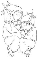 Chibi Blood Elves Napping by Sith-Witch