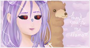 Llama thank-you sticker by tsuniona