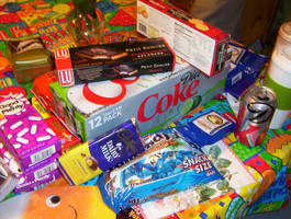 Colorful party gifts and junk food by caspercrafts