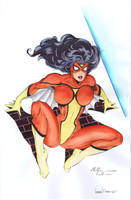 Spider-Woman watercolors by WaldenWong