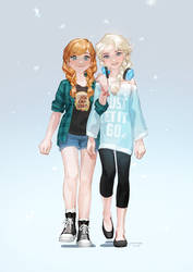Anna and Elsa by JaneMere