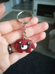 Super Meat Boy keychain by MarsMellon