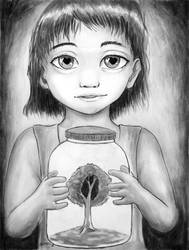 Study Drawing Girl Holding a Bottle by Samuraijose