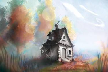 Little Gray House by LenamoArt