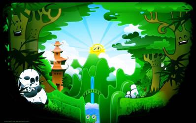 The Panda Wall by chicho21net