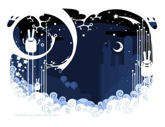 snow night rabbits by chicho21net