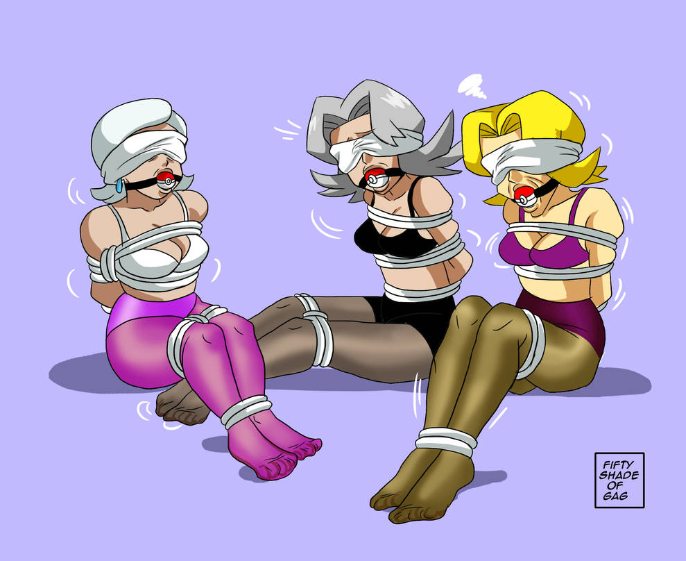 pokemon girls gagged colored BLINDFOLD by fiftyshadeofgag