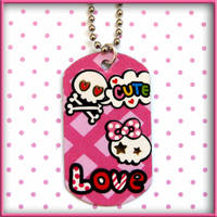 Skull Lovers Dog Tag Necklace by wickedland