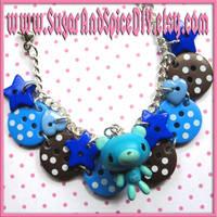 Blue Gloomy Bear Bracelet by wickedland