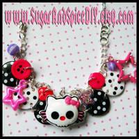 Skull Kitty Button Bracelet II by wickedland