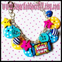 Bubble Gum Button Bracelet by wickedland