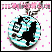 Drink Me Alice Wooden Charm by wickedland