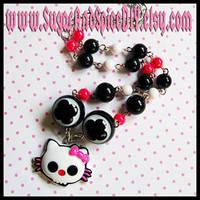 Skull Kitty Beaded Necklace by wickedland