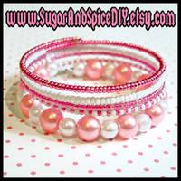 Wrap Rave Bracelet Pink White by wickedland