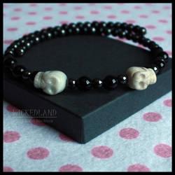 WICKEDLAND Bad Bones Beaded Choker Necklace by wickedland