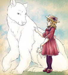 Art trade - A girl and her bear by TheBrassGlass