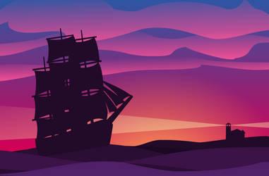 Ship sunset by TheBrassGlass