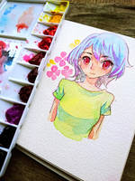 Watercolour doodle + speedpaint video by Noxmoony