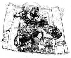 Yhorm the giant and Siegward of Catarina by thunderalchemist18