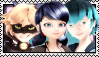 Chat Noir x Marinette x Luka Stamp by Pegasister28