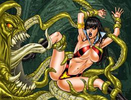 Vampirella vs Tentacles by Superheroine-Art