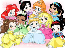 Chibi-Disney Princesses by rebenke