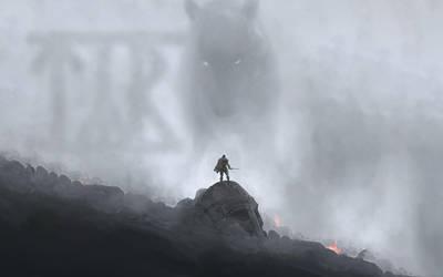 Tyr vs Fenrir at Ragnarok by PlaysWithWolves