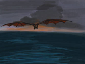 Drogon over the Narrow Sea by pangalliformes