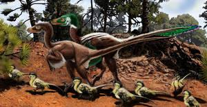 Dromaeosaurus closeup by Psithyrus