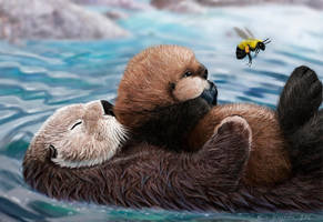 sea otter mom, pup, and bumblebee by Psithyrus