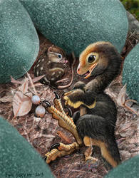 Baby Deinonychus and mammal assistant by Psithyrus