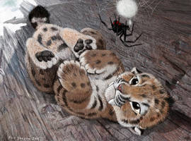 Baby Smilodon and motherly spider by Psithyrus
