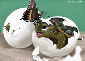 My Dad's B'day Card Baby Turtles and Butterfly by Psithyrus