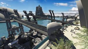 Futuristic Port veranda by crimsonsun1902