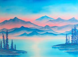 Crimson Mountain Lake by FunkBlast